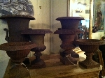 PAIRS OF ANTIQUE IRON URNS